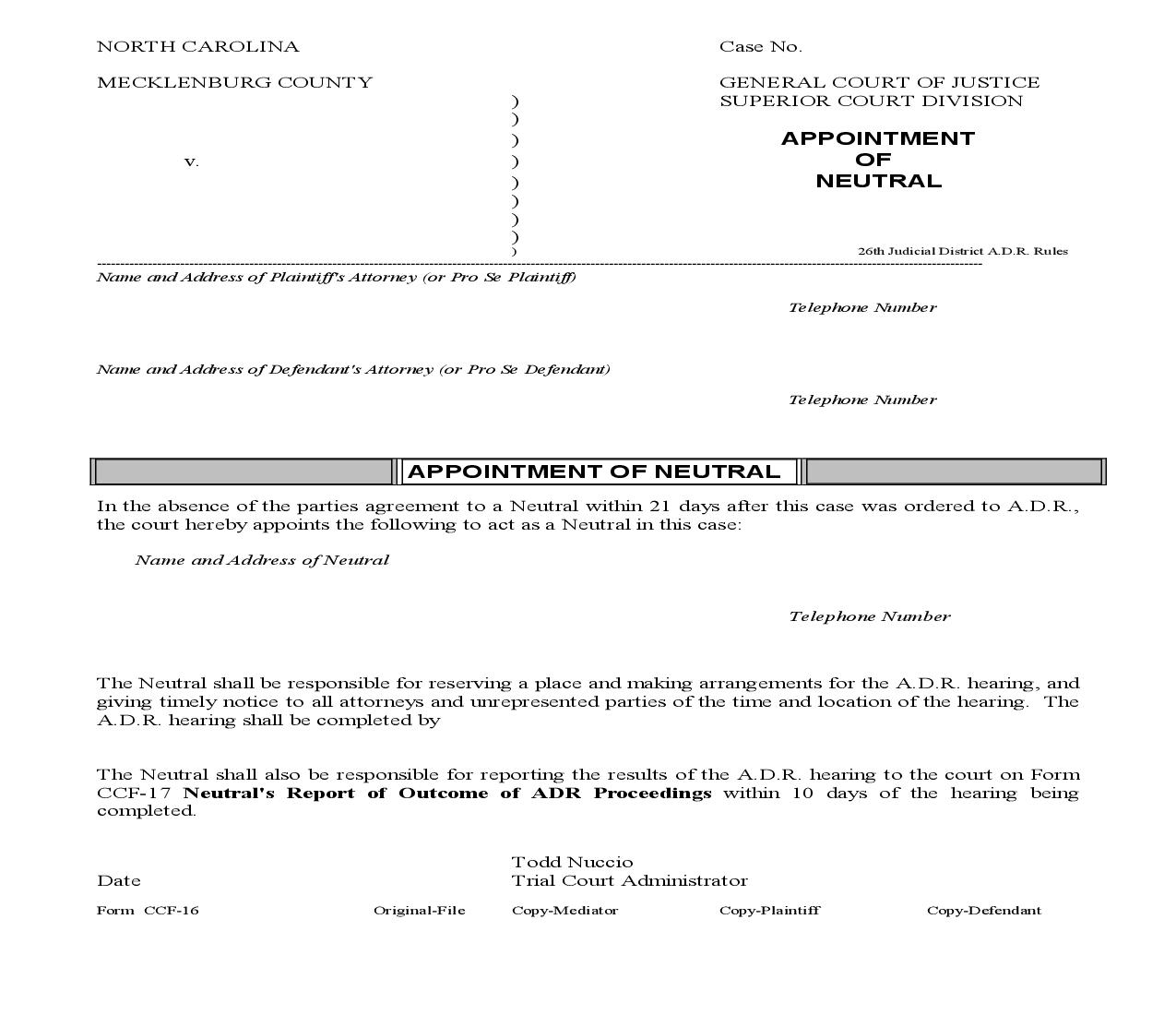 Appointment Of Neutral By Trial Court Administrator {CCF-16}   Pdf Fpdf Doc Docx   North Carolina