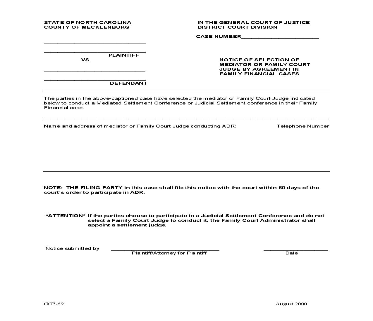 Notice Of Selection Of Mediator Or Family Court Judge By Agreement In Family Financial Cases {CCF-69} | Pdf Fpdf Doc Docx | North Carolina