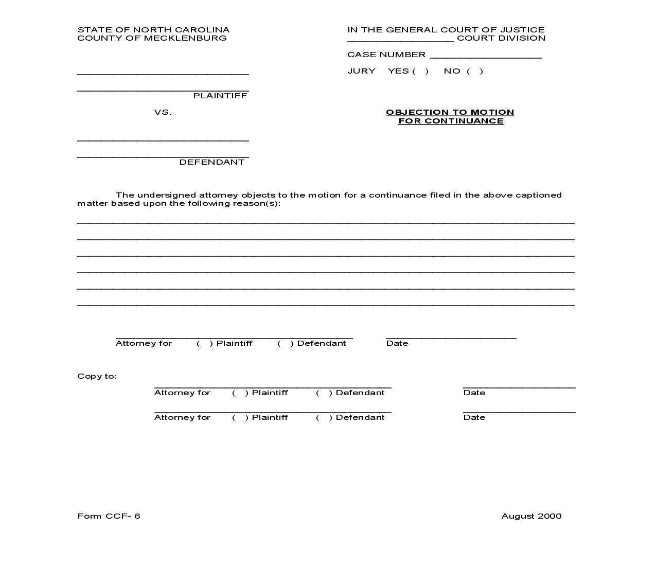 Objection To Motion For Continuance {CCF-6}   Pdf Fpdf Doc Docx   North Carolina