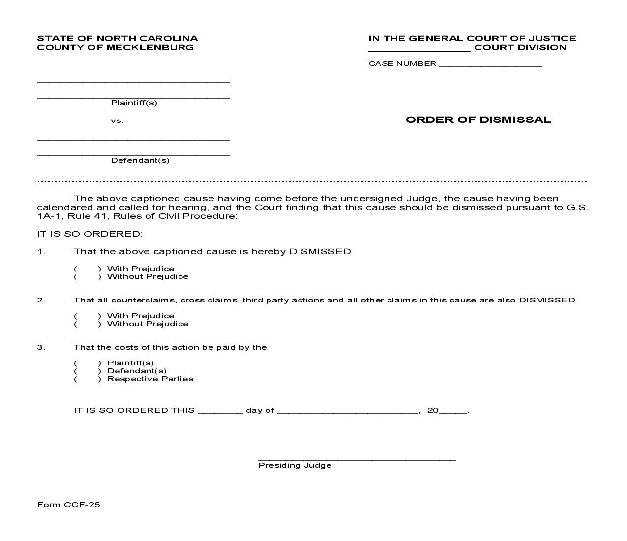 Order Of Dismissal {CCF-25} | Pdf Fpdf Doc Docx | North Carolina