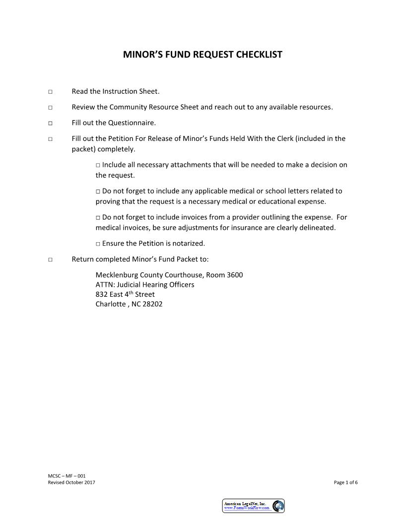 Petition For Release Of Minors Funds {MCSC-MF-001} | Pdf Fpdf Doc Docx | North Carolina
