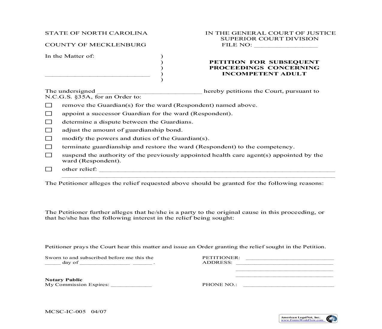 Petition For Subsequent Proceedings Concerning Incompetent Adult {MCSC-IC-005} | Pdf Fpdf Doc Docx | North Carolina