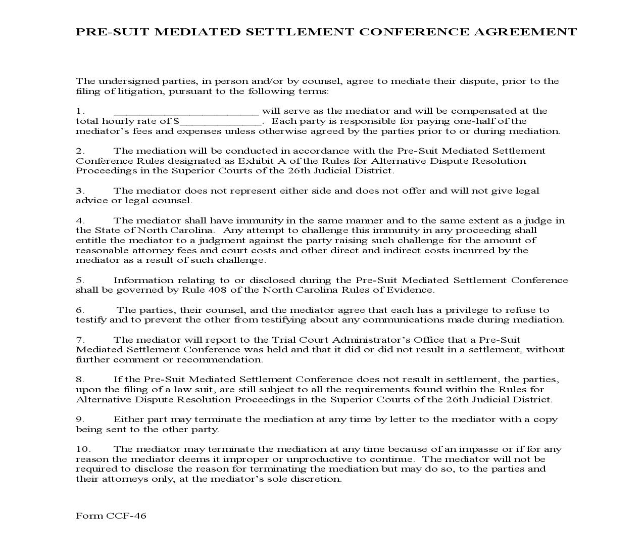 Pre Suit Mediated Settlement Conference Agreement {CCF-46} | Pdf Fpdf Doc Docx | North Carolina