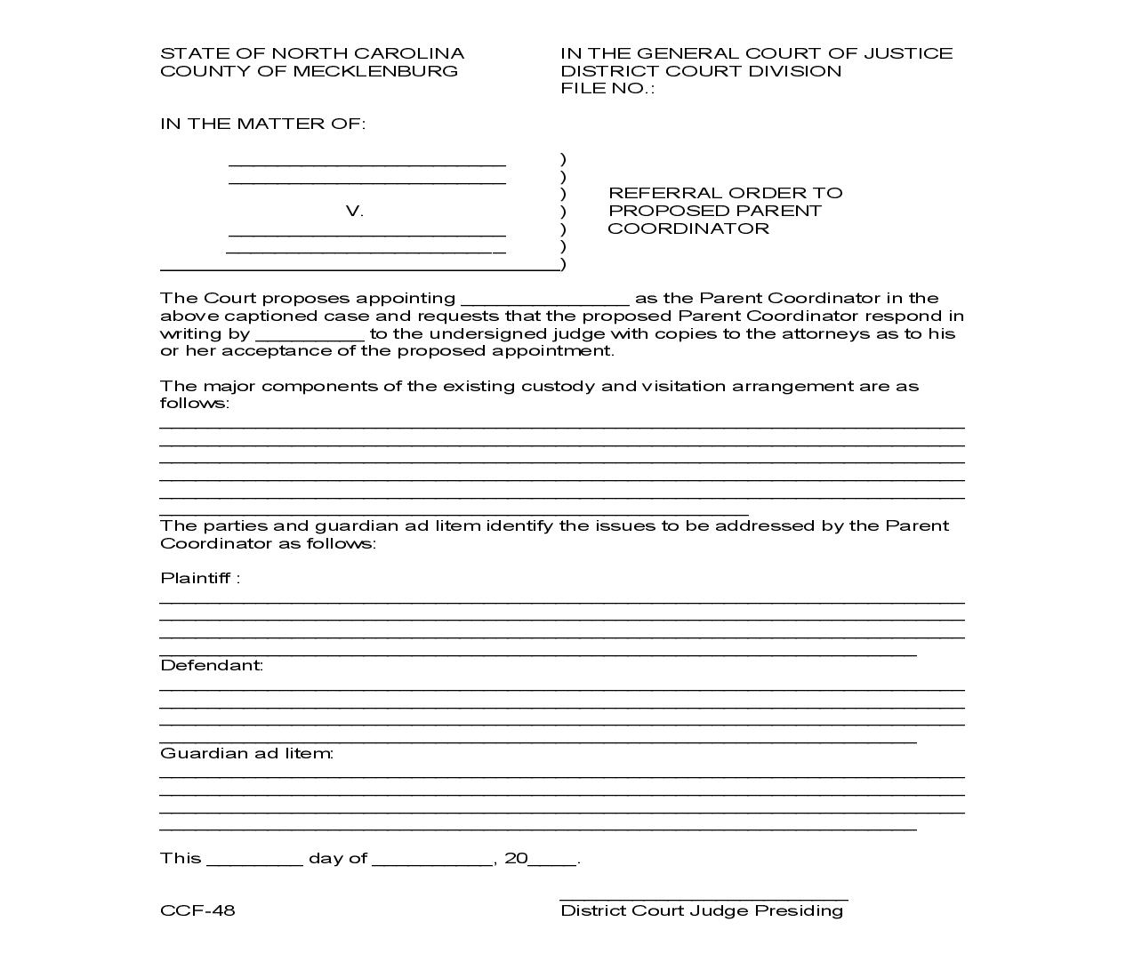Referral Order To Proposed Parent Coordinator {CCF-48} | Pdf Fpdf Doc Docx | North Carolina