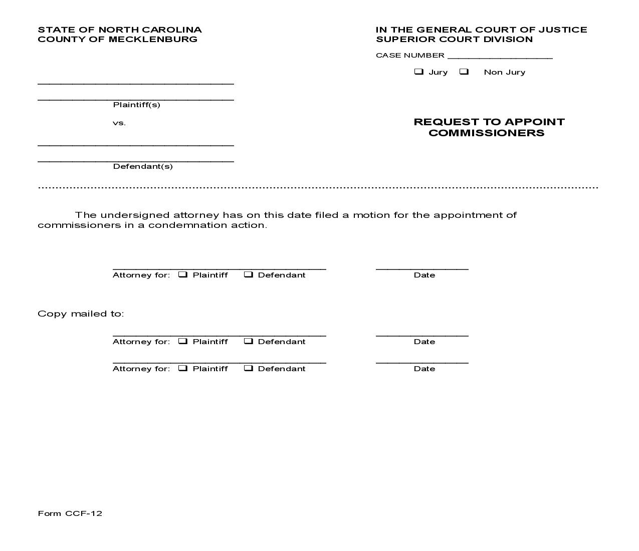 Request To Appoint Commissioners {CCF-12} | Pdf Fpdf Doc Docx | North Carolina