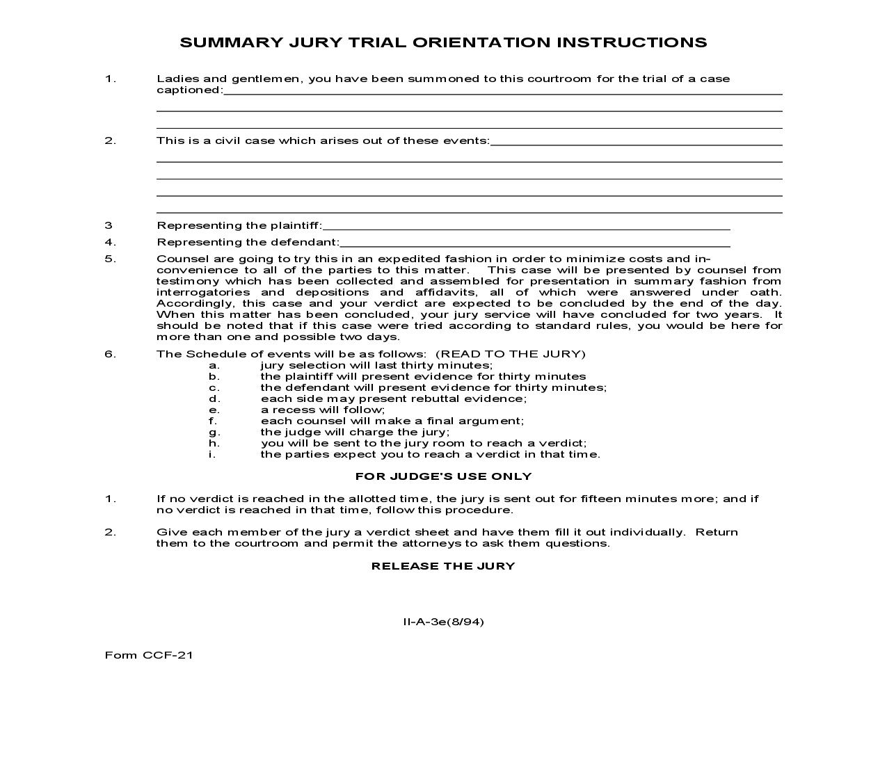 Summary Jury Trial Orientation Instructions {CCF-21} | Pdf Fpdf Doc Docx | North Carolina