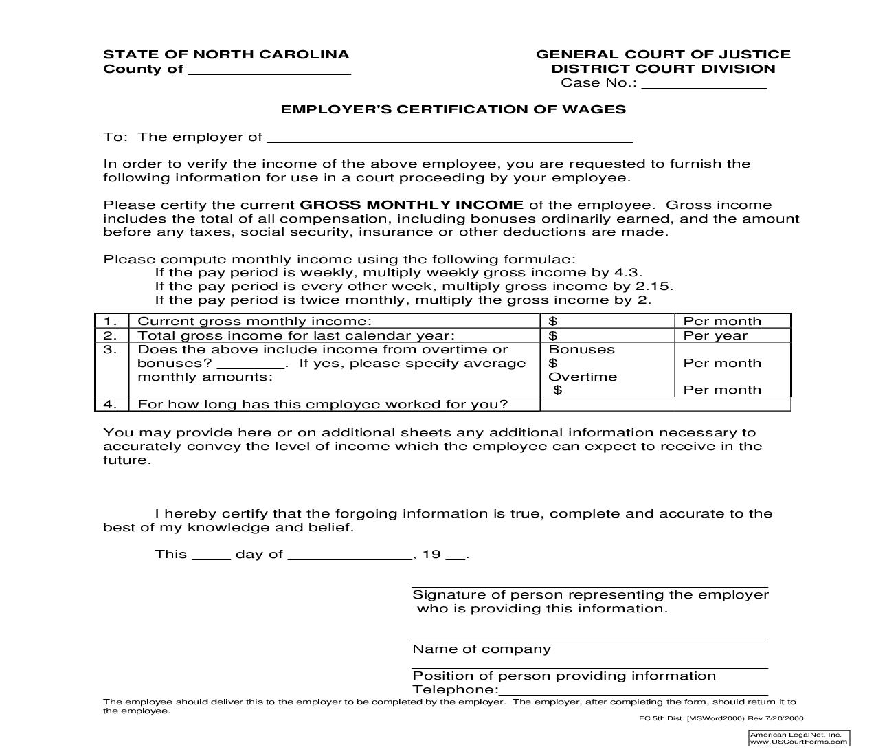 Employers Certification Of Wages {2}   Pdf Fpdf Doc Docx   North Carolina