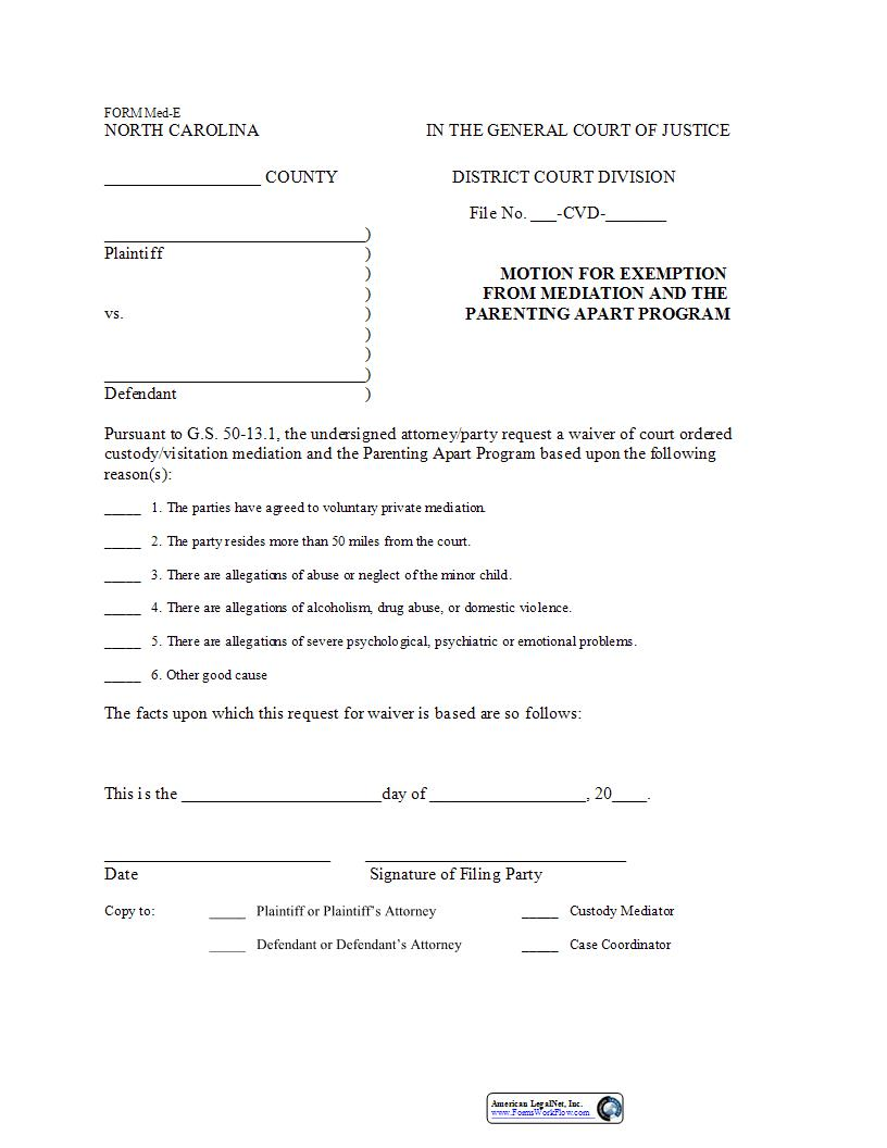 Motion For Exemption From Mediation And The Parenting Apart Program {Form Med-E} | Pdf Fpdf Docx | North Carolina