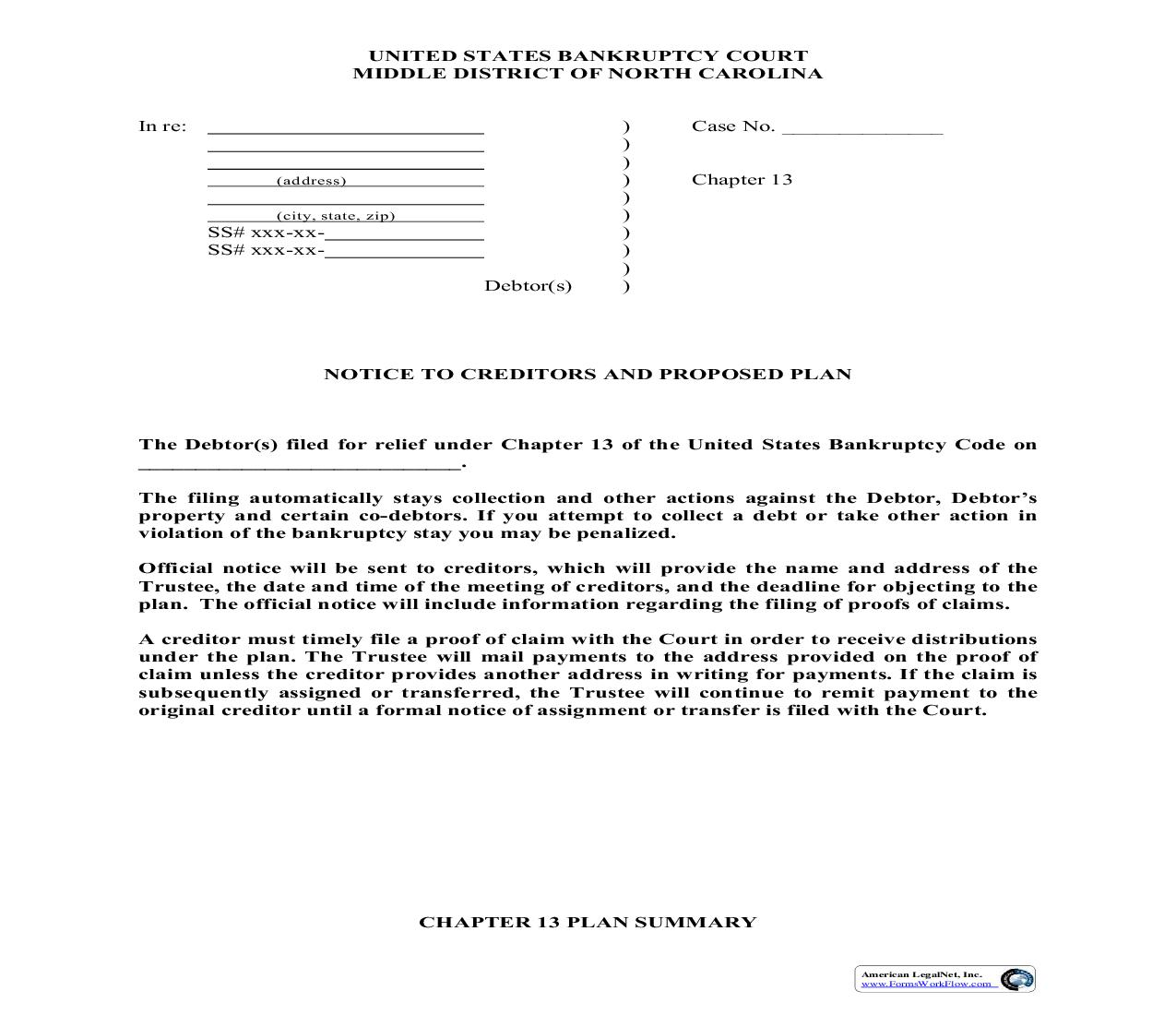 Notice To Creditors And Proposed Plan | Pdf Fpdf Doc Docx | North Carolina