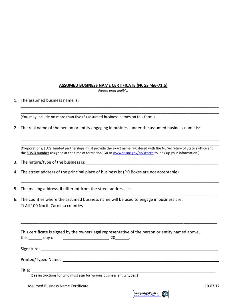 Assumed Business Name Certificate  | Pdf Fpdf Docx | North Carolina