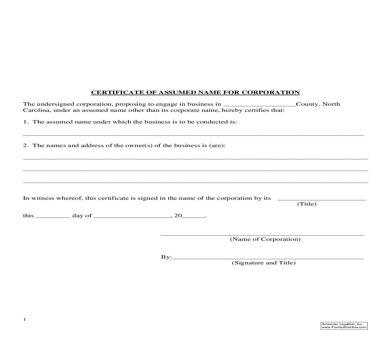 Certificate Of Assumed Name For Corporation | Pdf Fpdf Doc Docx | North Carolina