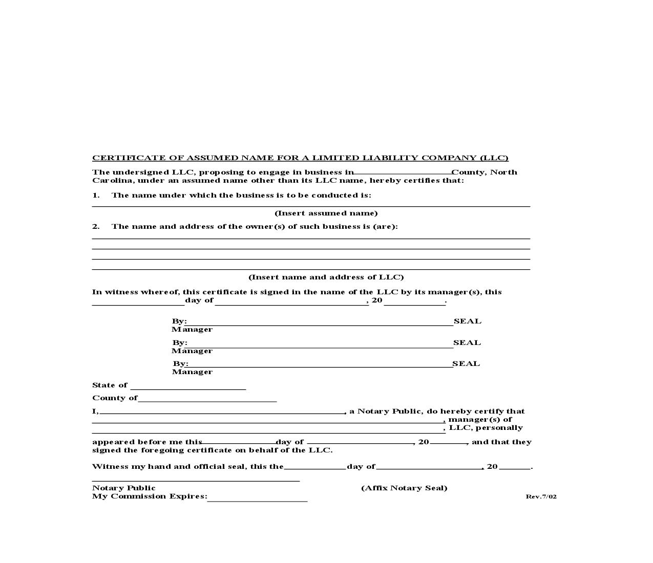 Certificate Of Assumed Name For Limited Liability Company |  | North Carolina