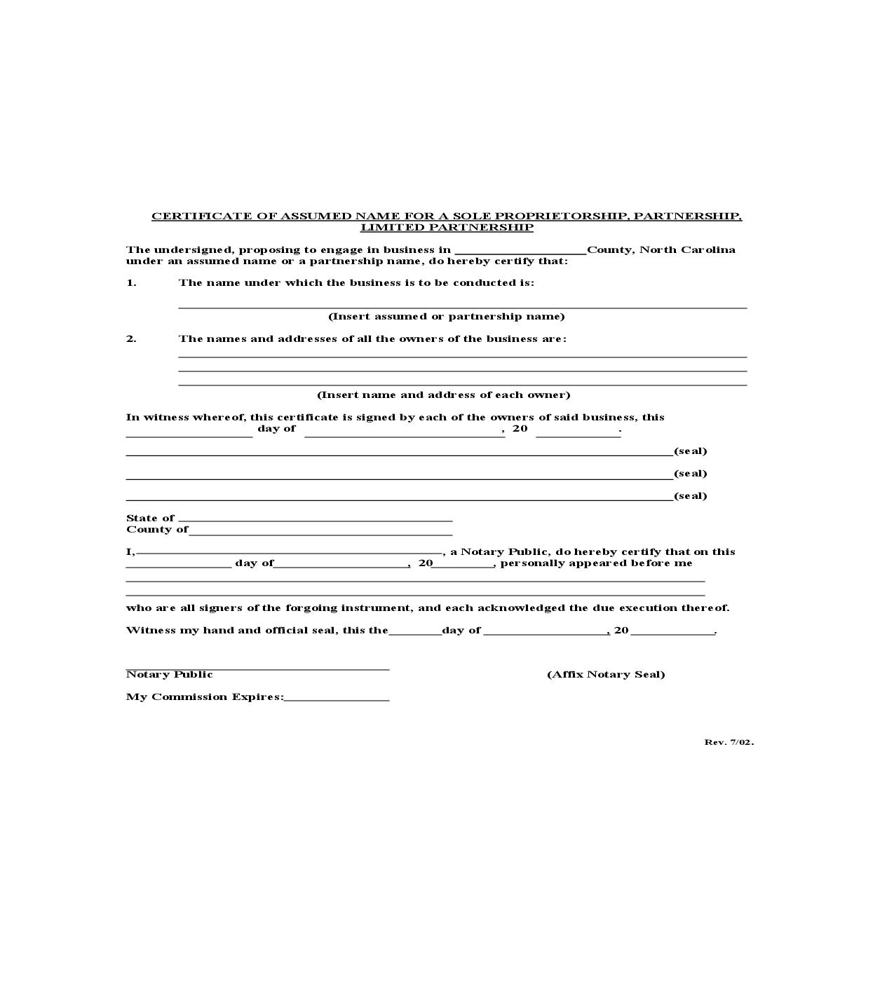Certificate Of Assumed Name For Sole Proprietorship Partnership Or Limited Partnership | Pdf Fpdf Doc Docx | North Carolina