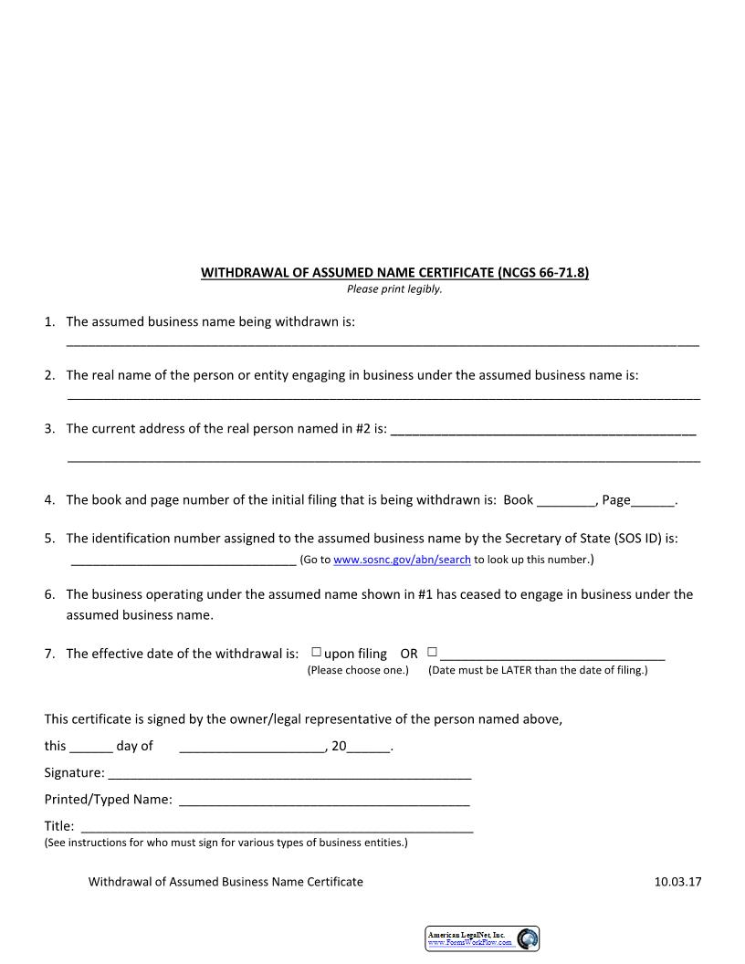 Withdrawal Of Assumed Name Certificate  | Pdf Fpdf Docx | North Carolina