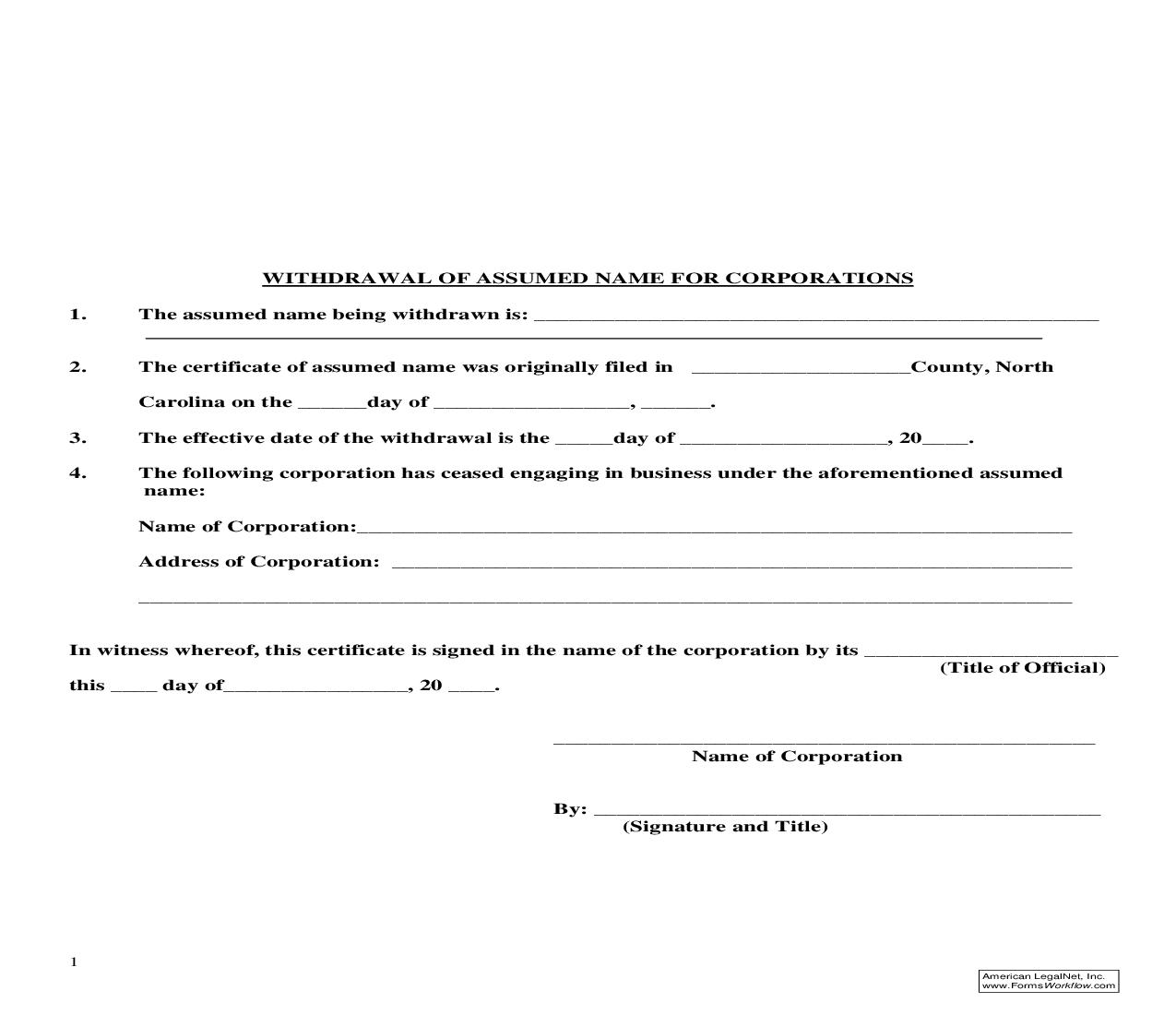 Withdrawal Of Assumed Name For Corporations | Pdf Fpdf Doc Docx | North Carolina