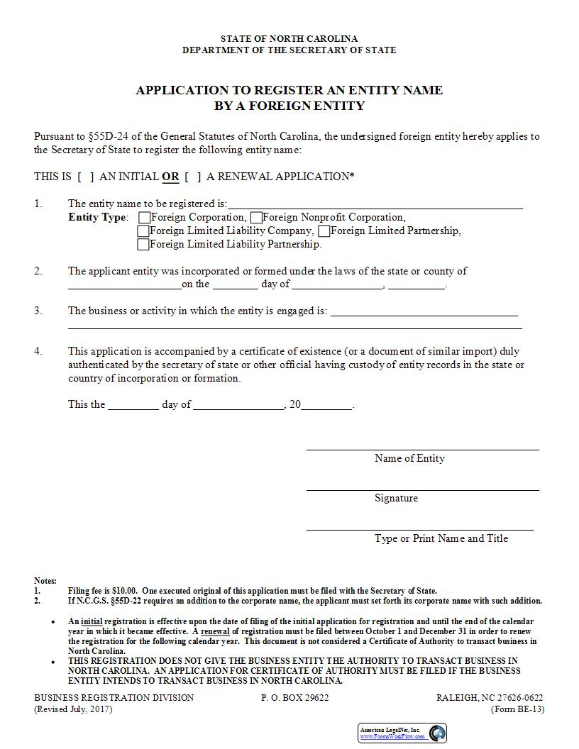 Application To Register An Entity Name By A Foreign Entity {BE-13} | Pdf Fpdf Doc Docx | North Carolina