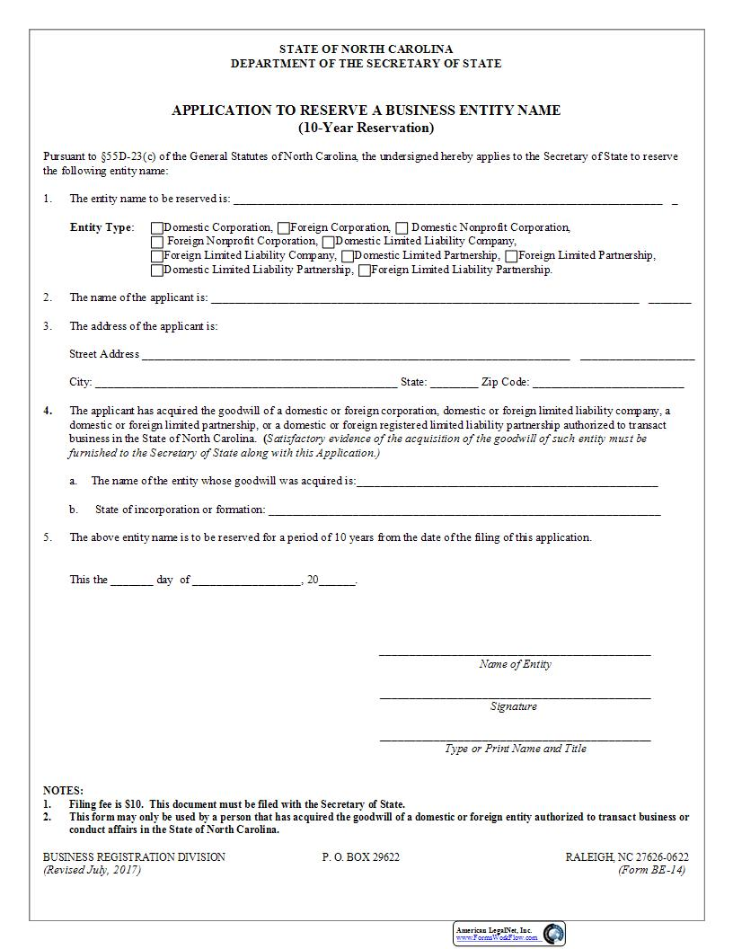 Application To Reserve A Business Entity Name 10 Year Reservation {BE-14} | Pdf Fpdf Docx | North Carolina