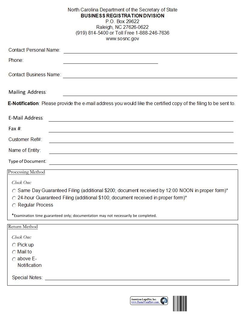 Cover Sheet For Corporate Filings {BE-01} | Pdf Fpdf Doc Docx | North Carolina