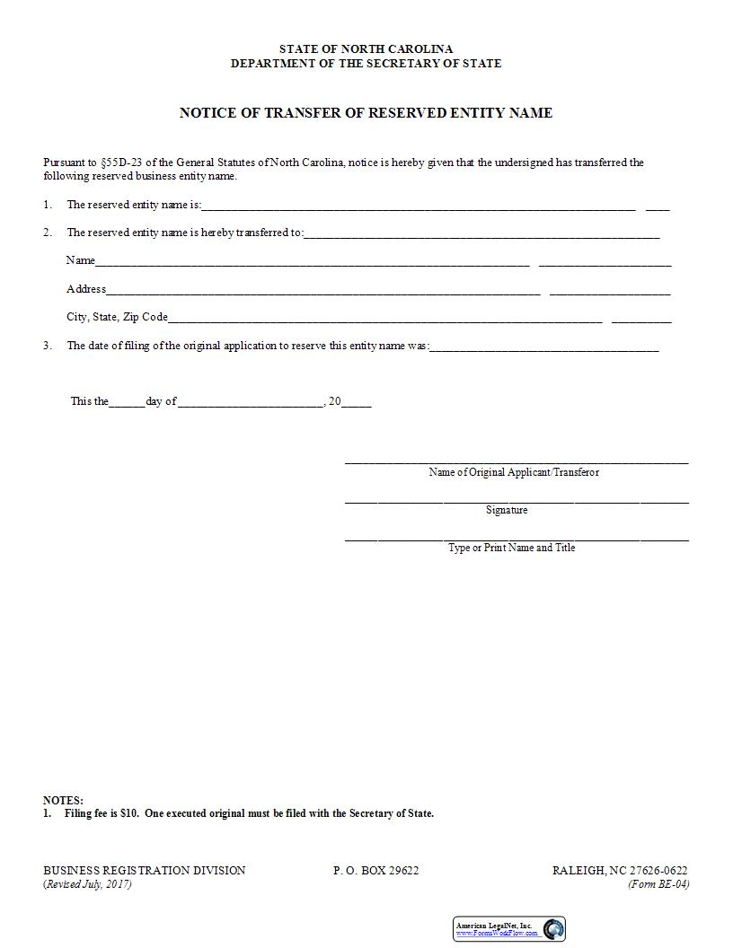 Notice Of Transfer Of Reserved Entity Name {BE-04} | Pdf Fpdf Doc Docx | North Carolina