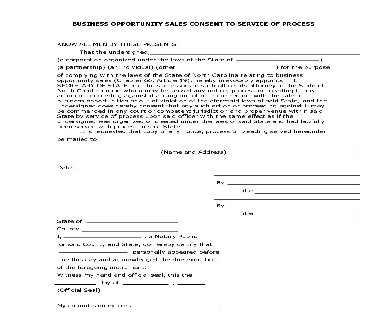Business Opportunity Sales Consent To Service Of Process | Pdf Fpdf Doc Docx | North Carolina