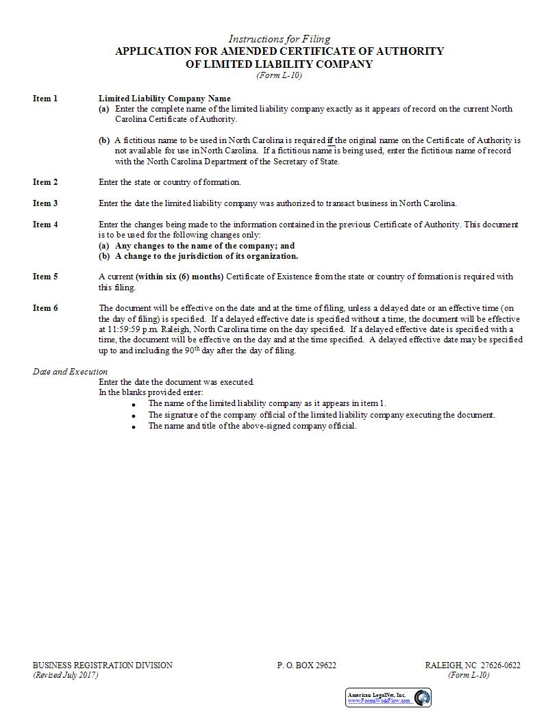 Application For Amended Certificate Of Authority {L-10} | Pdf Fpdf Doc Docx | North Carolina