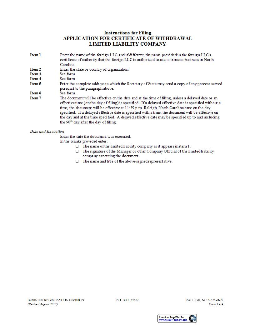Application For Certificate Of Withdrawal {L-14} | Pdf Fpdf Doc Docx | North Carolina