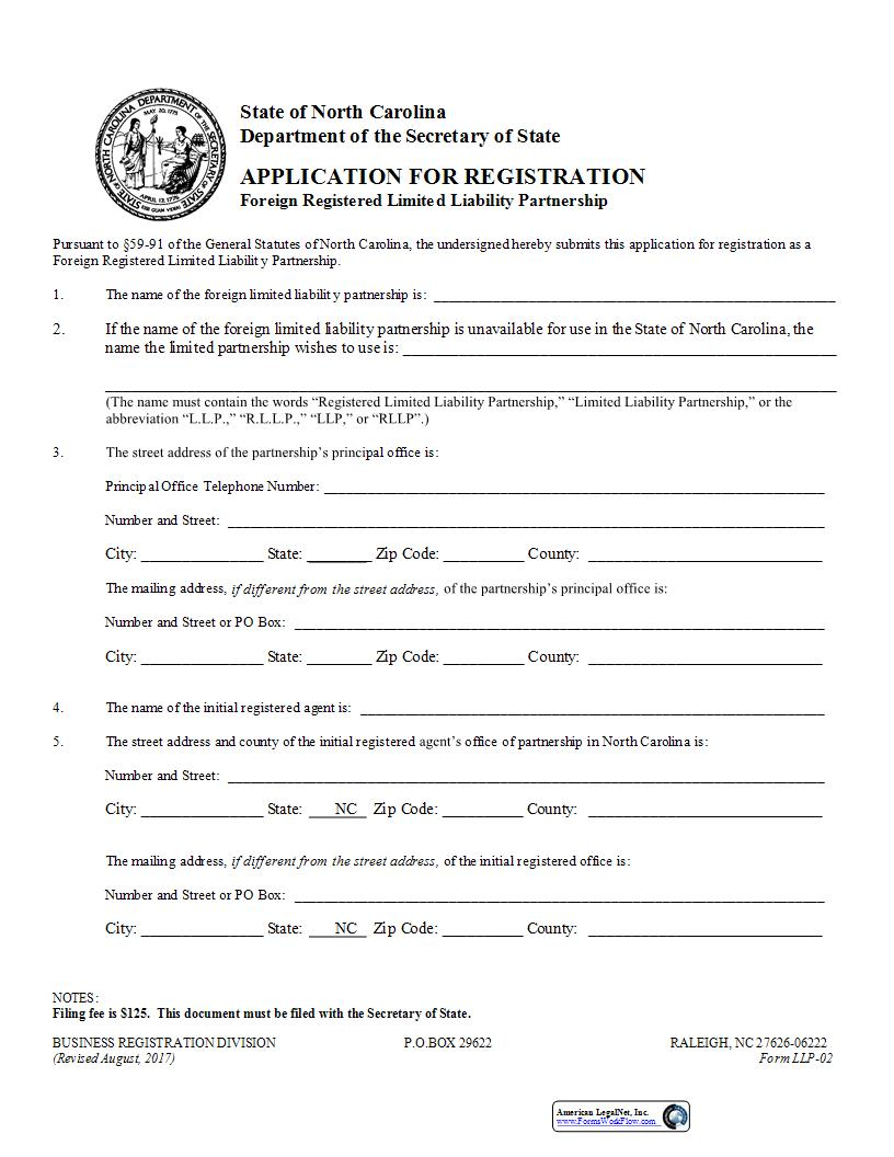 Application For Registration Foreign Registered Limited Liability Partnership {LLP-02} | Pdf Fpdf Docx | North Carolina