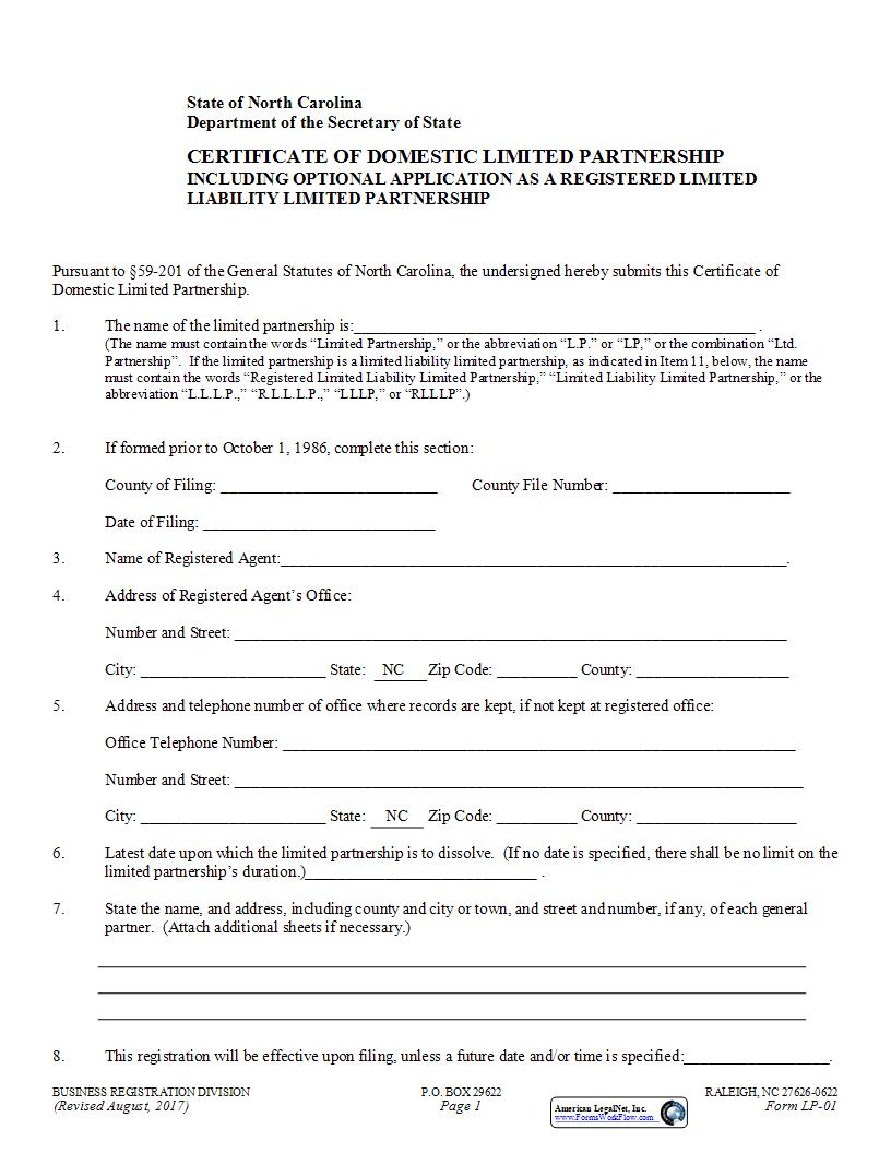 Certificate Of Domestic Limited Partnership {LP-01} | Pdf Fpdf Docx | North Carolina