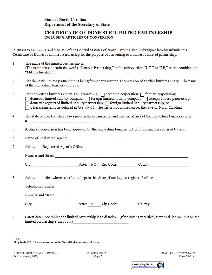 Certificate Of Domestic Limited Partnership Including Articles Of Conversion {LP-01A} | Pdf Fpdf Docx | North Carolina