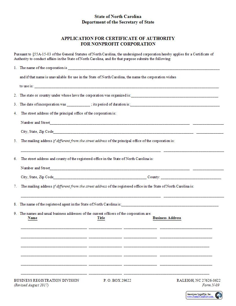Application For Certificate Of Authority {N-09} | Pdf Fpdf Docx | North Carolina
