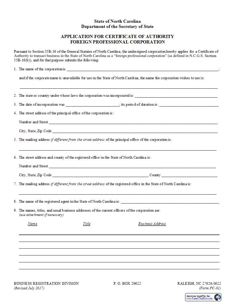 Application For Certificate Of Authority Foreign Professional Corporation {PC-01} | Pdf Fpdf Doc Docx | North Carolina