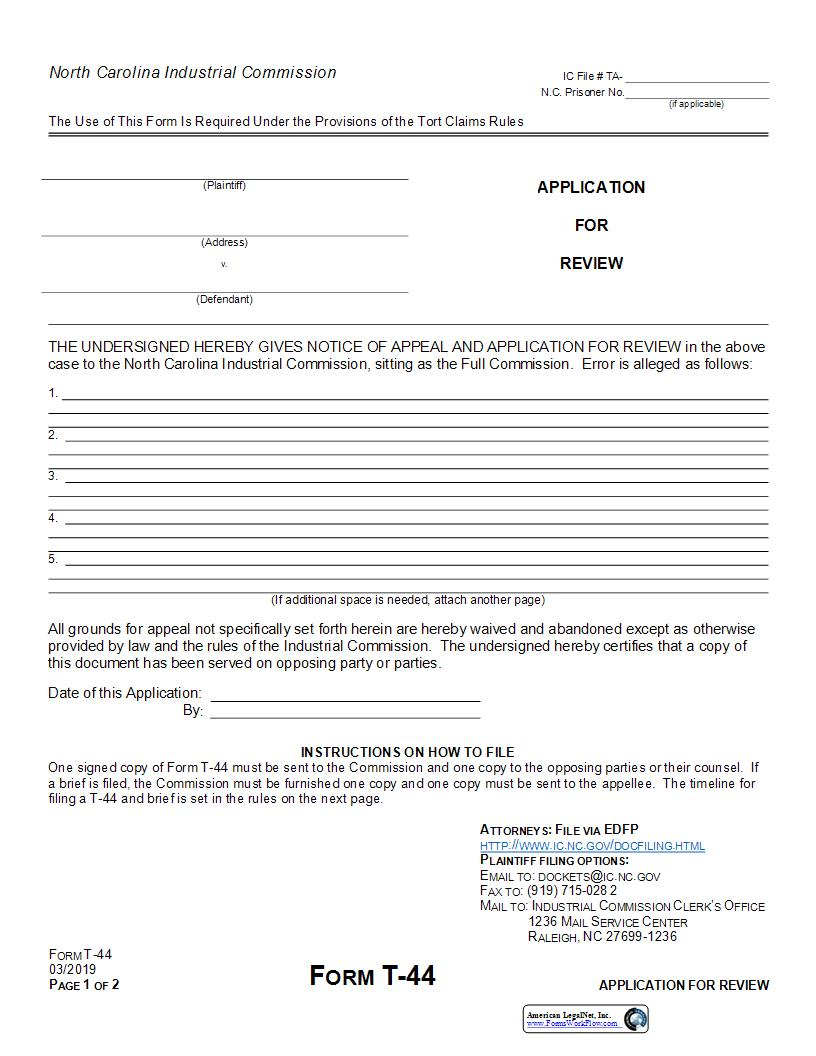 Application For Review Tort Award {T-44} | Pdf Fpdf Doc Docx | North Carolina