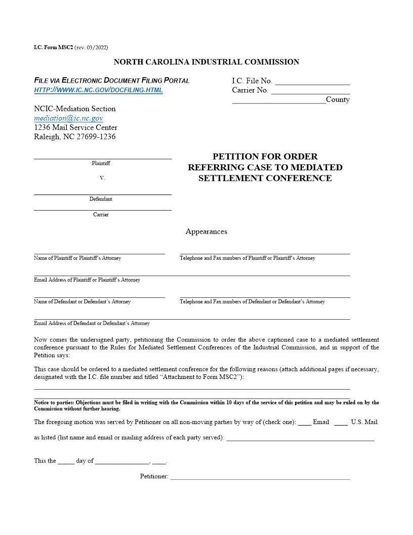 Petition For Order Referring Case To Mediated Settlement Conference {MSC2} | Pdf Fpdf Doc Docx | North Carolina