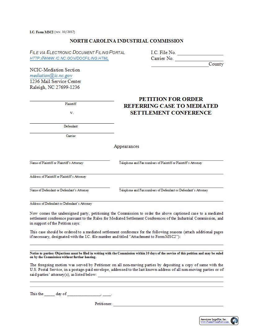 Petition For Order Referring Case To Mediated Settlement Conference {MSC2}   Pdf Fpdf Doc Docx   North Carolina