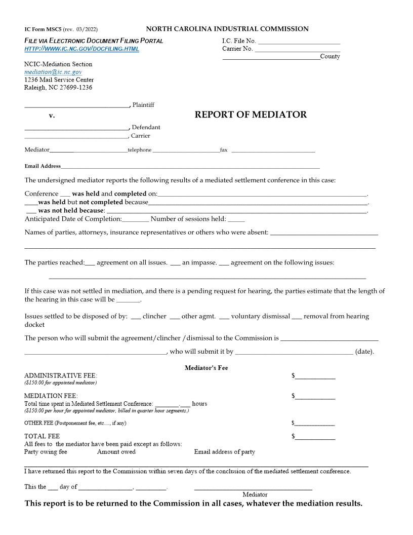 Report Of Mediator {MSC5} | Pdf Fpdf Doc Docx | North Carolina