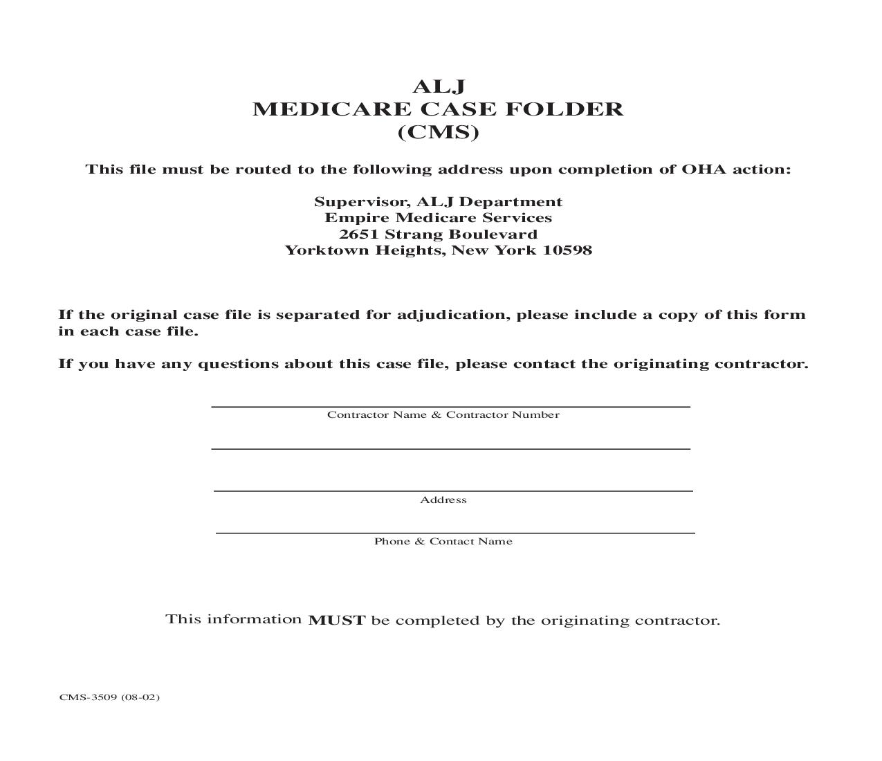 ALJ Medicare Case Folder (CMS) {CMS-3509} | Pdf Fpdf Doc Docx | Official Federal Forms
