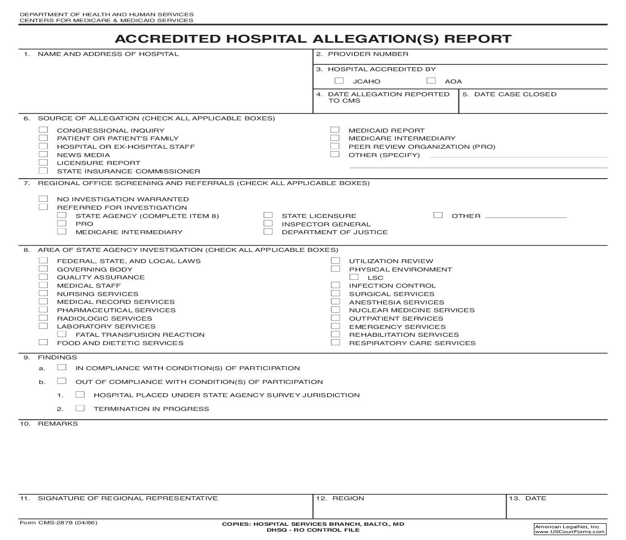 Accredited Hospital Allegation(s) Report {CMS-2878} | Pdf Fpdf Doc Docx | Official Federal Forms