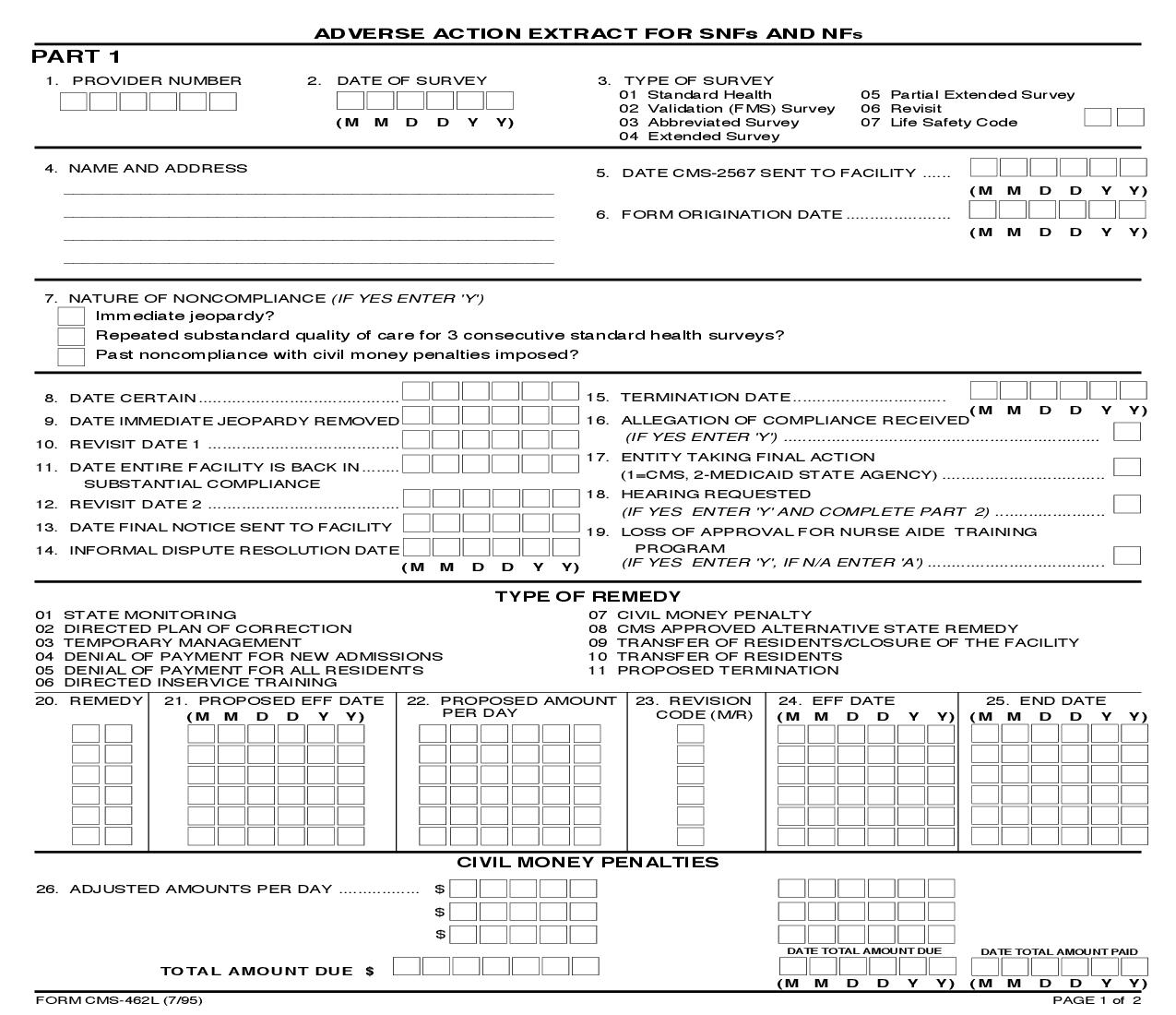Adverse Action Extract For SNFs And NFs {CMS-462L} | Pdf Fpdf Doc Docx | Official Federal Forms