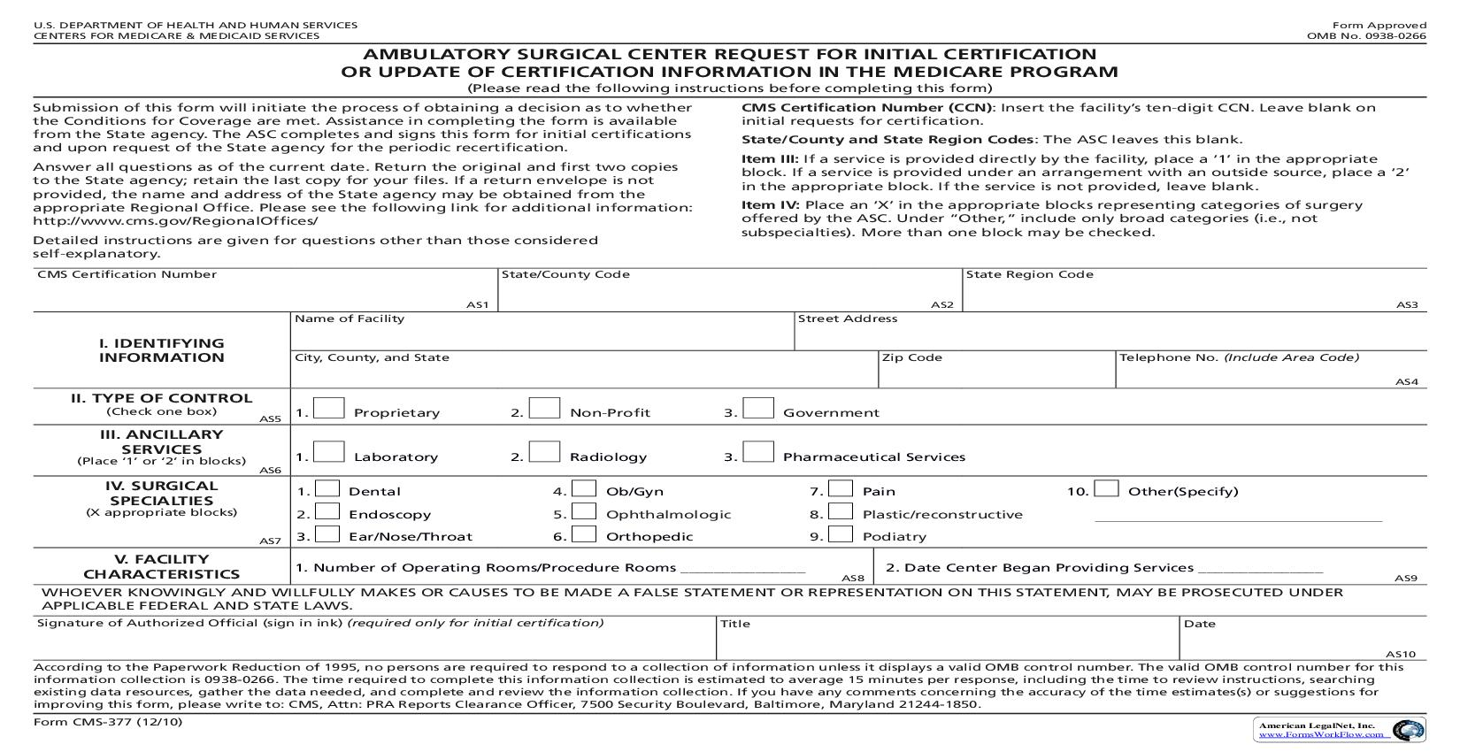 Ambulatory Surgical Center Request For Certification In The Medicare