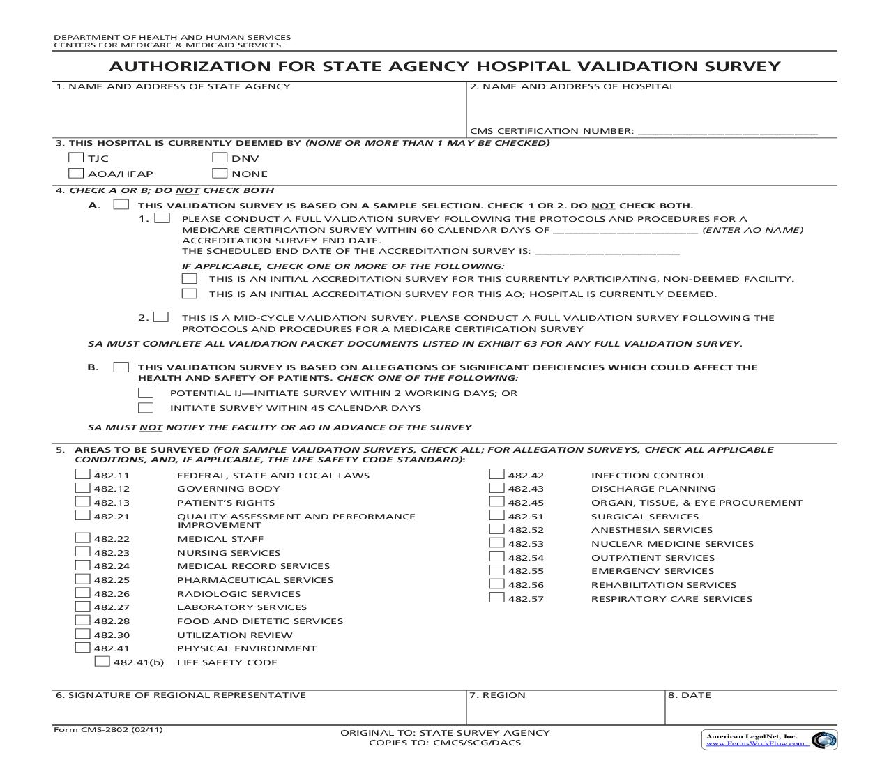 For State Agency Hospice Validation Survey Cms 2802 Pdf Fpdf Doc
