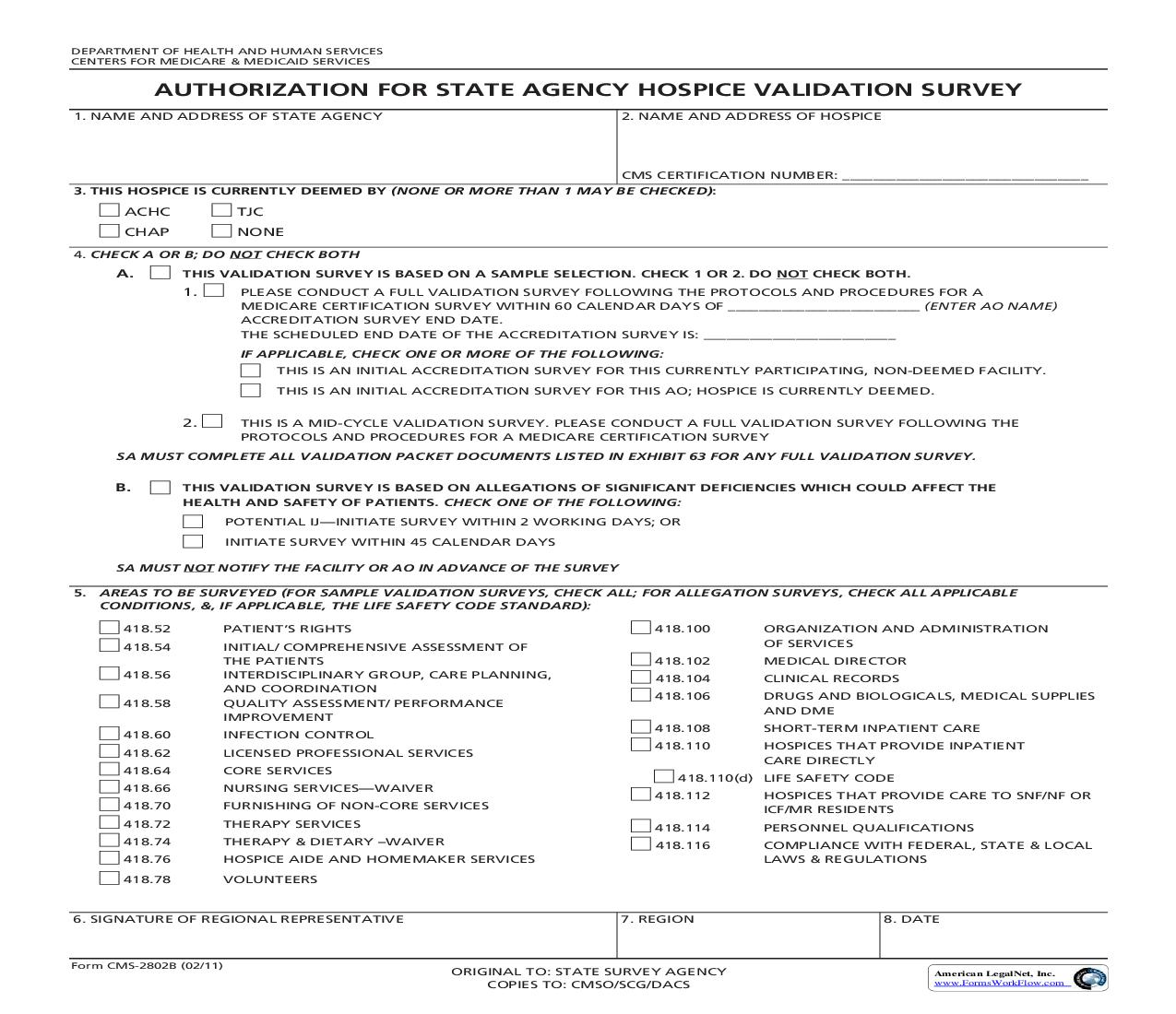 Authorization For State Agency Hospice Validation Survey {CMS-2802B} | Pdf Fpdf Doc Docx | Official Federal Forms