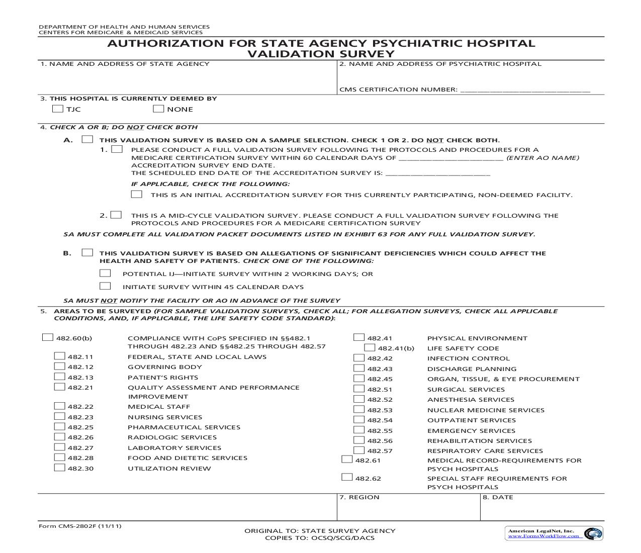 Authorization For State Agency Psychiatric Hospitall Validation Survey {CMS-2802F} | Pdf Fpdf Doc Docx | Official Federal Forms