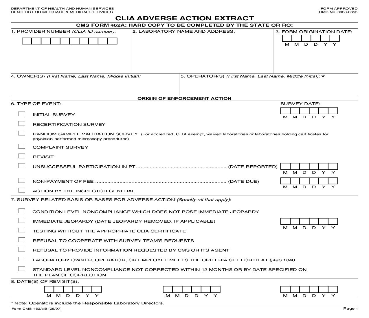 CLIA Adverse Action Extact {CMS-462A-B}   Pdf Fpdf Doc Docx   Official Federal Forms
