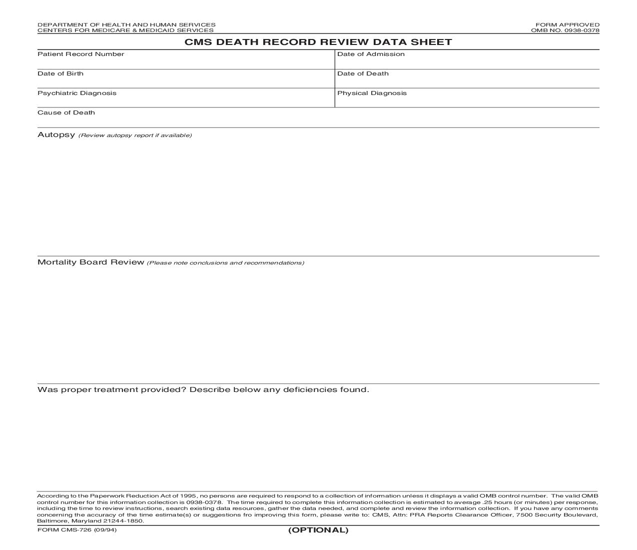 CMS Death Record Review Data Sheet {CMS-726} | Pdf Fpdf Doc Docx | Official Federal Forms