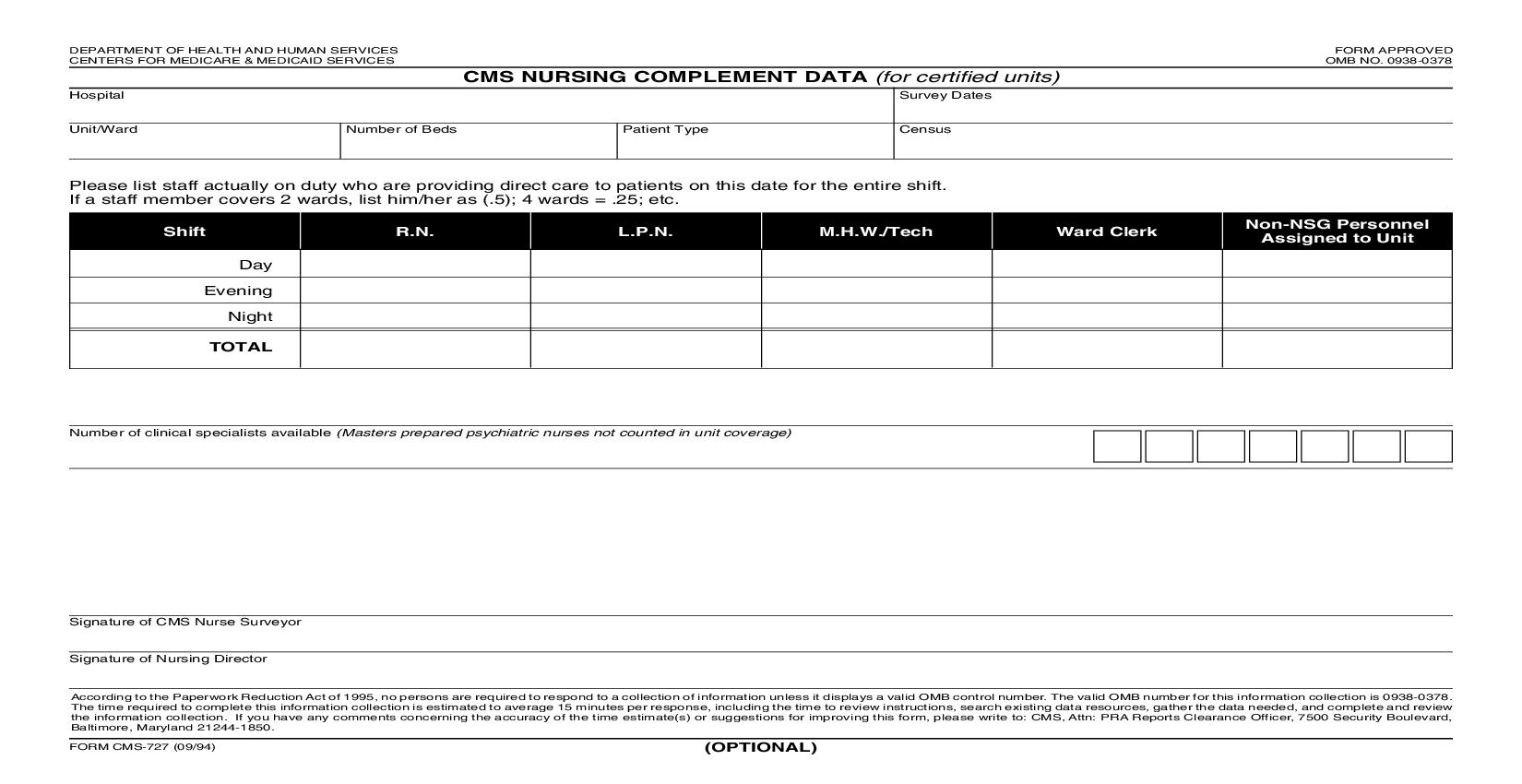 CMS Nursing Complement Data {CMS-727} | Pdf Fpdf Doc Docx | Official Federal Forms