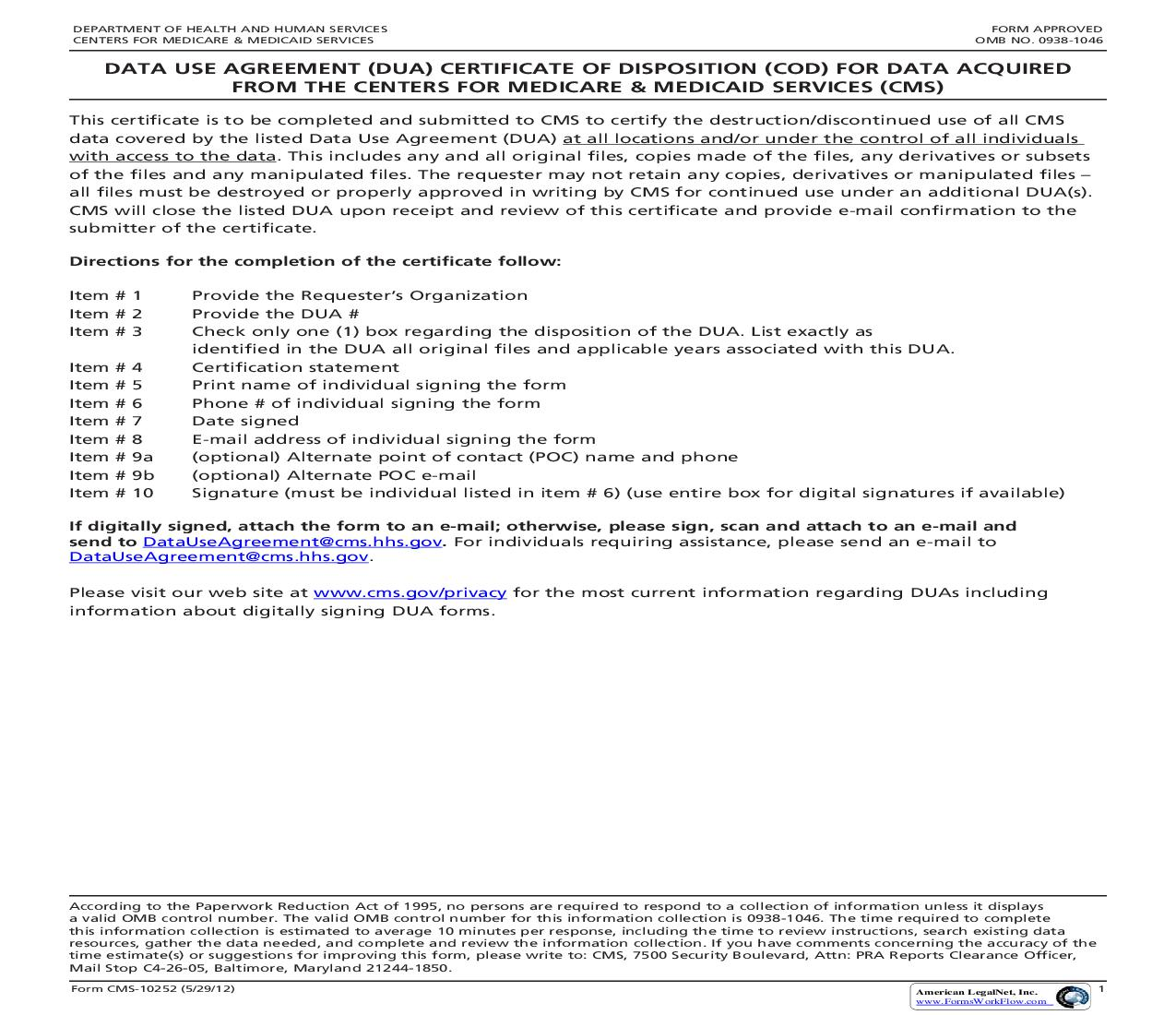 Certificate Of Data Destruction For Data Acquired {CMS-10252}   Pdf Fpdf Doc Docx   Official Federal Forms