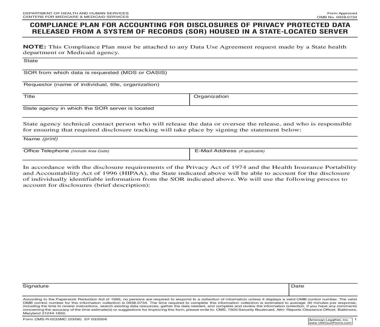 Compliance Plan For Accounting For Disclosures Of Privacy Protected Data From A System Of Records (SOR) {CMS-R-0235MC} | Pdf Fpdf Doc Docx | Official Federal Forms