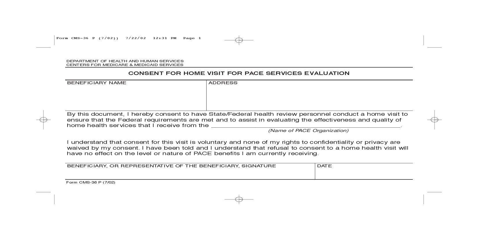 Consent For Home Visit For Pace Services Evaluation {CMS-36P}   Pdf Fpdf Doc Docx   Official Federal Forms