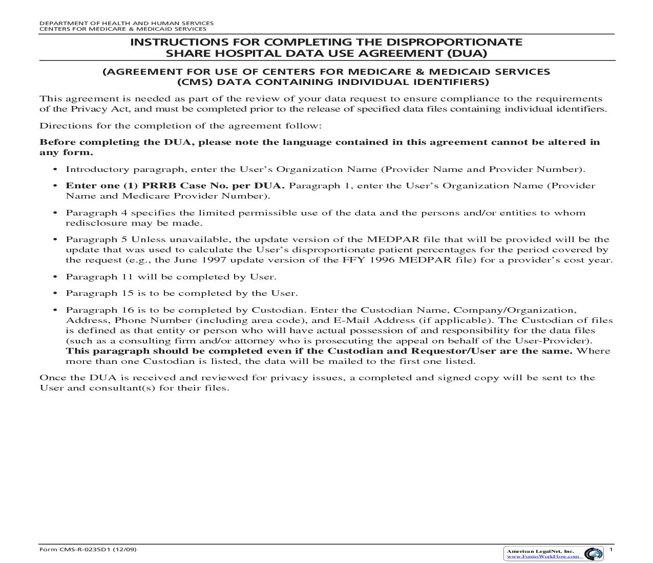 DSH Data Use Agreement For Court Reporting (Prior To December 8 2004) {CMSR-0235D1}   Pdf Fpdf Doc Docx   Official Federal Forms