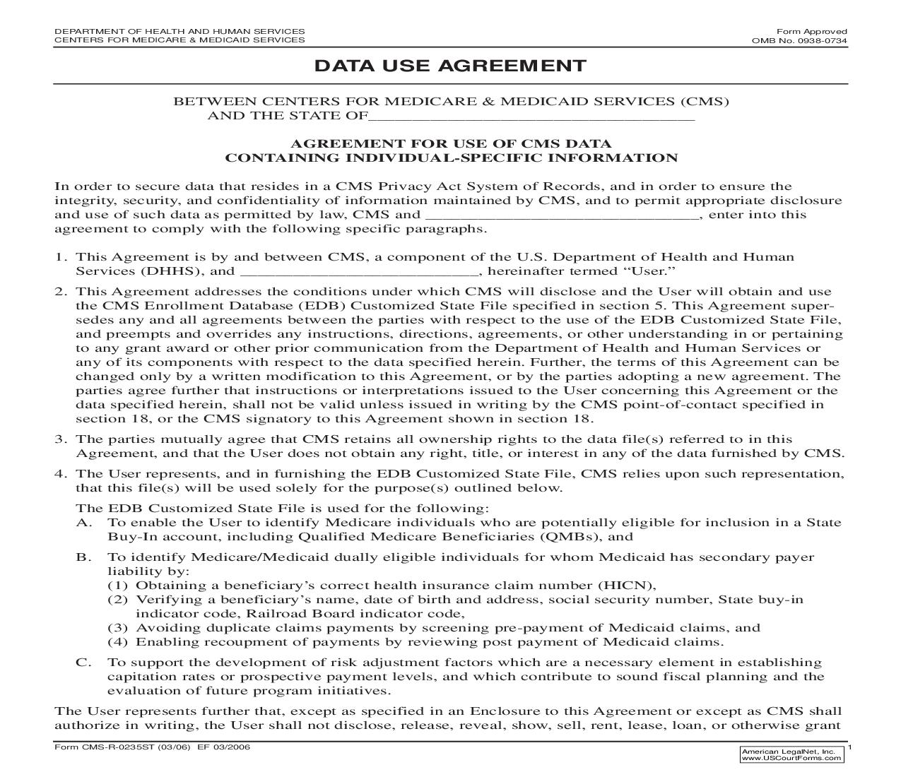 Data Use Agreement (State) {CMS-R-0255ST} | Pdf Fpdf Doc Docx | Official Federal Forms